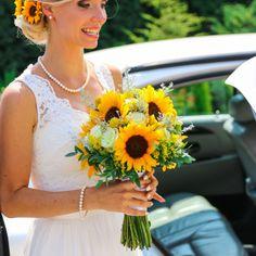bukiet ślubny słoneczniki