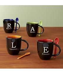 Need a unique gift? Send Initial Mug with Spoon and other personalized gifts at Personal Creations. Gifts For Boss, Gifts For Friends, Initial Coffee Mugs, Starbucks, Christmas Gifts For Coworkers, Christmas Treats, Xmas Gifts, Diy Christmas, Bosses Day Gifts