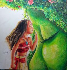 Moana and Te fiti Colored Pencil by KR-Dipark.deviantart.com on @DeviantArt