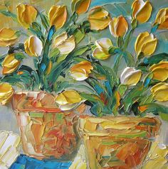 Yellow Tulips Painting by Jan Ironside Tulip Painting, Painting & Drawing, Watercolor Paintings, Knife Painting, Art Floral, Pallette, Texture Painting, Painting Inspiration, Flower Art