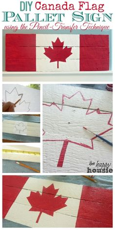 Canada Flag Pallet Sign on Dock Cleat Hanger {Boys' Room Progress DIY Canada Flag Pallet Sign using the Pencil Transfer Technique Tutorial at The Happy Housie Pallet Flag, Pallet Art, Pallet Signs, Diy Pallet Projects, Projects To Try, Pallet Ideas, Palette Projects, Wood Flag, Pallet Boards
