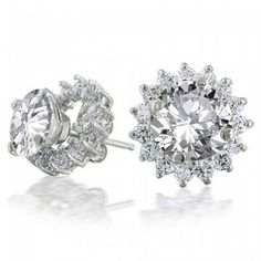 Bling Jewelry Sterling Silver CZ Round Removable Jacket Stud Earrings 7mm -- Want additional info? Click on the image.
