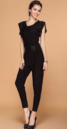 Black Ruffle Sleeve Draped Front Belt Jumpsuit