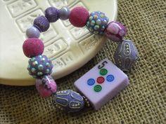 Purple and Pink Mahjong Bracelet - Jesse James Beaded Bracelet  - Mahjong Jewelry by Earmarksdesigns on Etsy
