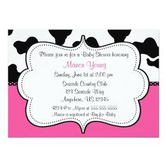 Cow Print Pink Invitaiton Card