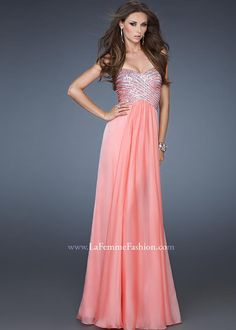 Shop 2013 prom dresses La Femme 18342 coral strapless sequin dress available now at RissyRoos.com. .
