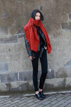 Bold red scarf. TopShelfClothes.com