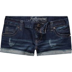 INFAMOUS Rhinestone & Stud Womens Shorts ($24) ❤ liked on Polyvore featuring shorts, bottoms, pants, jeans, women, studded jean shorts, studded shorts, embroidered shorts, short jean shorts and rhinestone jean shorts