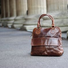 Leather Handbag Tote Bag Vintage Brown by TheLeatherStore on Etsy