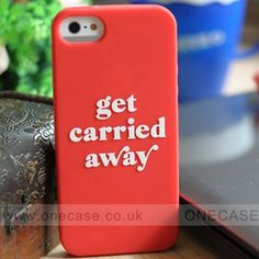 Our colorful Kate Spade iphone 5 case reminds you to let yourself get carried away--it's printed with that very phrase in a retro-glamorous font..