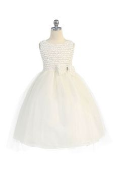 This+beautiful+formal+dress+is+perfect+for+communion,+pageants,+weddings,+dances,+parties,+or+any+special+occasion.++Sleeveless+Bodice+covered+in+in+tiny+organza+flower+petals+Bow+