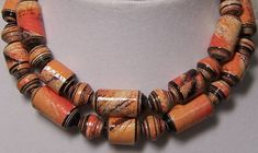 Paper Beads    Hand Painted Paper  Halloween Orange And by deeann7