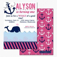 PREPPY WHALE Birthday Invitation, Pink and Navy, Nautical , Custom Printable. $17.00, via Etsy.