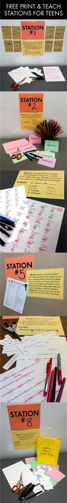 FREE print & teach station materials for middle school and high school teachers #stations #lessonidea #highschool #middleschool #Englishteacher