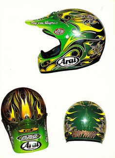 1996 Damon Huffman Troy Lee Designs Arai V-Cross Helmet | Flickr - Photo…