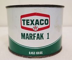 Click to view larger image and other views Vintage-Texaco-Grease-Can-Texaco-Marfak-453-KIlos-UnOpened  Vintage-Texaco-Grease-Can-Texaco-Marfak-453-KIlos-UnOpened  Vintage-Texaco-Grease-Can-Texaco-Marfak-453-KIlos-UnOpened  Vintage-Texaco-Grease-Can-Texaco-Marfak-453-KIlos-UnOpened Have one to sell? Sell it yourself Vintage Texaco Grease Can Texaco Marfak .453 KIlos UnOpened