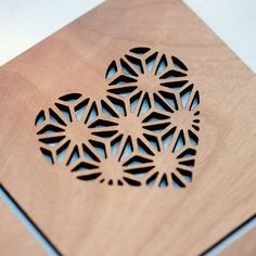 Geometric Hearts Laser Cut Alder Wood Coasters by StylineDesigns