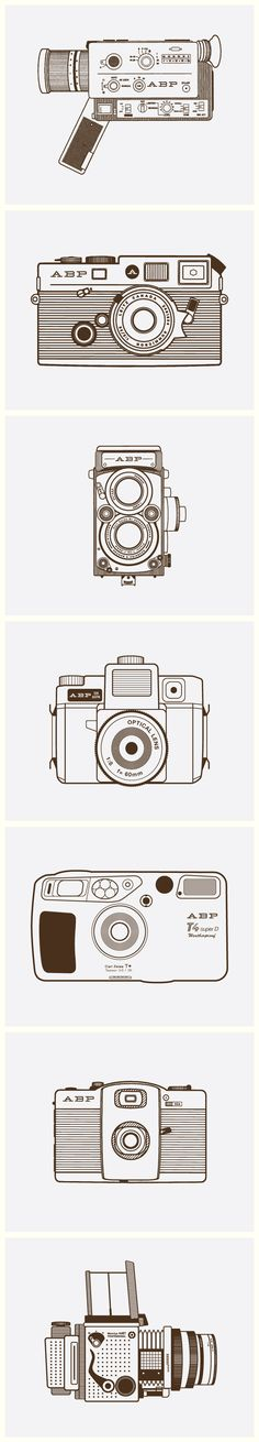 Series of camera illustrations for A Bryan Photo.