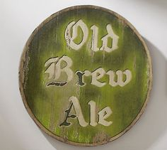 "Bring the bar home with ""Old Brew Ale"" signage. #potterybarn"