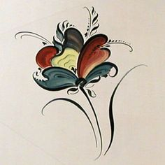 painting a Telemark flower...rosemaling