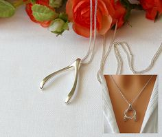 Silver Wishbone Necklace, Ring Holder, Gift For Wife, Sister, Mum, Nurse, Doctor, Ring Holder Necklace by SaraAndJane on Etsy (null)