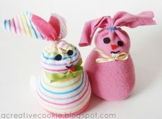 Easter Craft Ideas: An Adorable DIY Sock Bunny For Easter Baskets  Photo by Kate Gould of A Creative Cookie