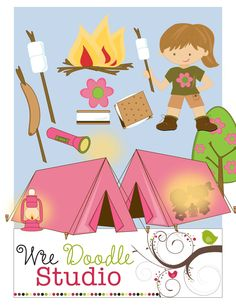 Girls Camping Clip art set -  Clip Art Digital elements for Commercial and Personal use. $3.00, via Etsy.