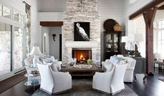 Southern Living Showcase House- Interior Tour - Heather Scott Home & Design My Living Room, Living Room Decor, Living Spaces, Dining Room, Living Area, Fireplace Surrounds, Fireplace Design, Fireplace Stone, Stone Mantel