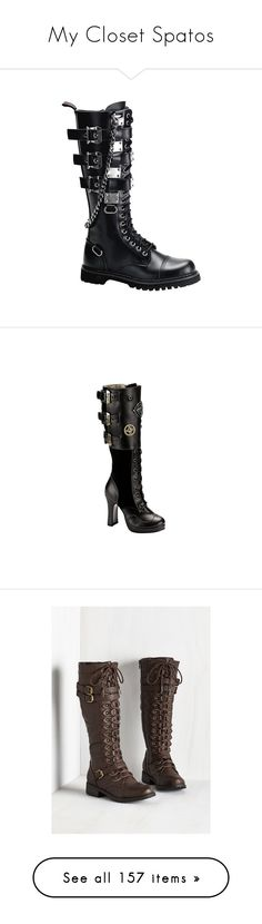 """""""My Closet Spatos"""" by bruna-rogers on Polyvore featuring shoes, boots, punk shoes, punk rock boots, unisex shoes, punk rock shoes, steam punk shoes, steampunk, steam punk boots e steampunk boots"""