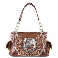 Montana West Horse Head Handbag, Concealed Carry, Brown