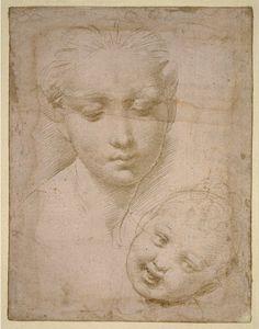 Heads of the Virgin and Child, 1508-10 c., Raffaello Santi da Urbino, called Raphael, Silverpoint on pink prepared paper, 14.3 x 11.1 cm, British Museum, London.