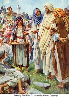 Jesus feeds the 5000 in the Bible images | Feeding The Five Thousand by Harold Copping