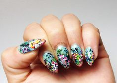 love these trippy forest nails!