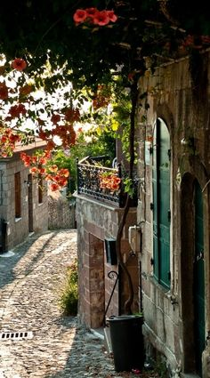 Cobbled alley in Provence, France