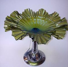 Superb Chrome & Green Lustre Frill Edged Glass Art Deco Compote 1930