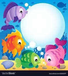 Fish topic image 1 vector image on VectorStock Art Drawings For Kids, Drawing For Kids, Art For Kids, Boarder Designs, Page Borders Design, School Board Decoration, Cartoon Sea Animals, School Frame, School Murals