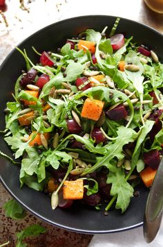Arugula Salad with Beluga Lentils, Butternut Squash and Beets