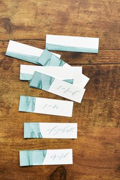 Organic, natural earth dye dipped placecards / escort cards / name cards/ thank you tags with modern calligraphy
