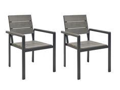 Lot de 2 chaises de jardin en aluminium gris TORTUGA