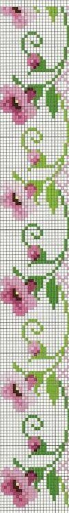 little pink flowers Cross Stitch Boarders, Cross Stitch Bookmarks, Cross Stitch Flowers, Cross Stitch Kits, Cross Stitch Charts, Cross Stitching, Cross Stitch Patterns, Bead Loom Patterns, Beading Patterns