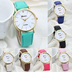 Women Fashion Dial Leather Band Analog Geneva Quartz Women Casual Wrist Watch #Unbranded #Casual