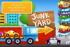 More Trucks HD - by Duck Duck Moose [ages: iPad] - 4 interactive play scenes with various vehicles (monster truck, fire truck, junk yard, construction site). Duck Duck Moose, Bus App, 3 Year Olds, Wheels On The Bus, Fire Trucks, Android Apps, Boy Or Girl, Monster Trucks, Junk Yard