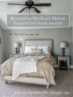 Imperfectly Imaginable : Restoration Hardware finish tutorial for Maison Inspired bed. Great instructions to make this awesome bed. Furniture Plans, Bedroom Furniture, Bedroom Decor, Furniture Projects, Painted Furniture, Wicker Furniture, Diy Furniture, Do It Yourself Furniture, Do It Yourself Home