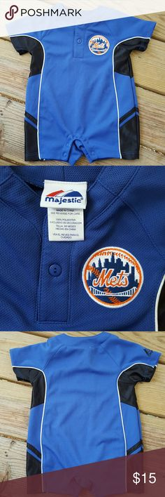 New Listing~ Majestic New York Mets Onesie 3-6 MO Excellent condition, for 3-6 Months. Majestic One Pieces Bodysuits