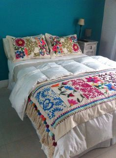 Beautiful embroidered cushions and throws, long term project for 13 Emerald Street. Mexican Embroidery, Hand Embroidery, Embroidery Designs, Bed Spreads, Bedroom Decor, Modern Bedroom, Cushions, Pillows, Quilts