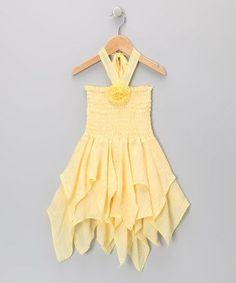 Light Yellow Rosette Handkerchief Dress - Toddler & Girls