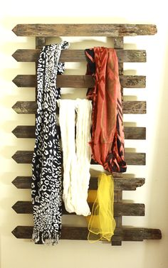 Old fence as scarf storage