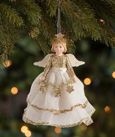 Bring a serene feel to your Christmas tree with this darling Peaceful Storybook Angel Ornament. x Shop unique Christmas decorations & ornaments now! Christmas Angel Decorations, Christmas Angel Ornaments, Globe Ornament, Christmas Deer, Victorian Christmas, Xmas, Holiday Decor, Tinsel Garland, Angel Gowns