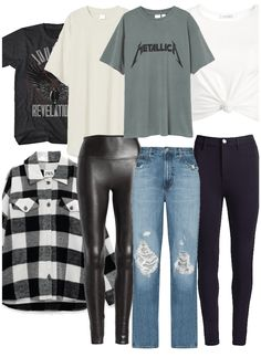 Edgy capsule collection outfit ideas | Casual capsule collection Outfit Maker, Leather Pants, Casual Outfits, Outfit Ideas, Skinny Jeans, Leggings, How To Wear, Inspiration, Collection