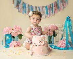 Vintage Cake Smash || Girl Cake Smash || Romantic || Floral || Rag Tie Banner || Birdcage || Pink Hydrangea || Turquoise || Blue Mason Jars || Cherry Blossom Cake ||